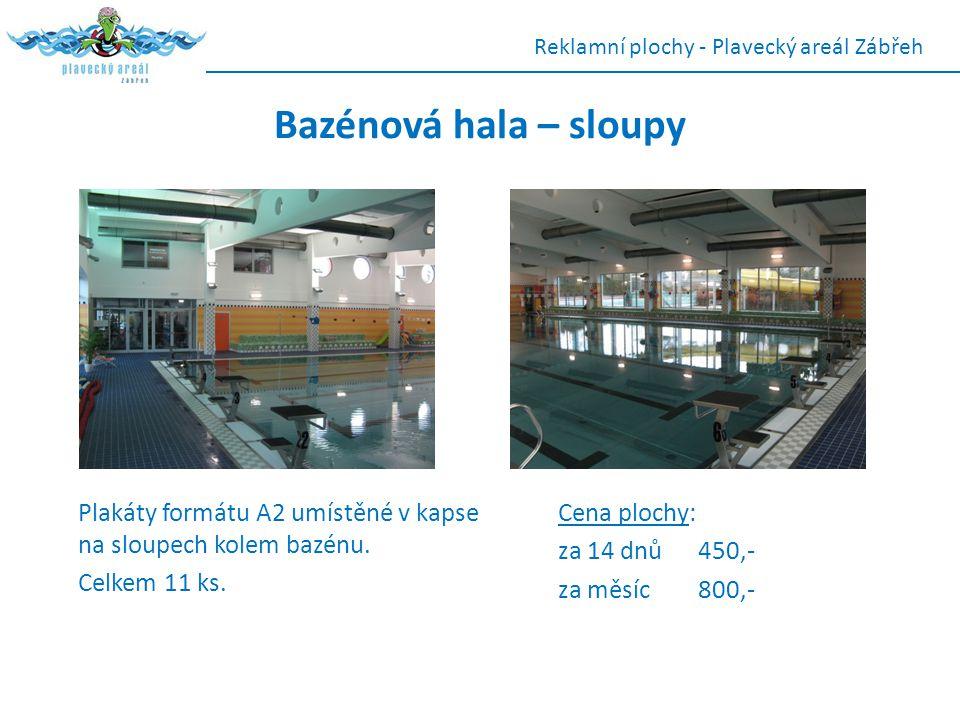 Plakáty formátu A2 umístěné v kapse na sloupech kolem bazénu. Celkem 11 ks. Reklamní plochy - Plavecký areál Zábřeh Bazénová hala – sloupy Cena plochy