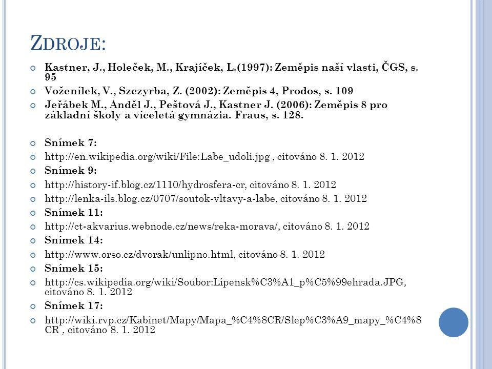 Z DROJE : Kastner, J., Holeček, M., Krajíček, L.(1997): Zeměpis naší vlasti, ČGS, s. 95 Voženílek, V., Szczyrba, Z. (2002): Zeměpis 4, Prodos, s. 109