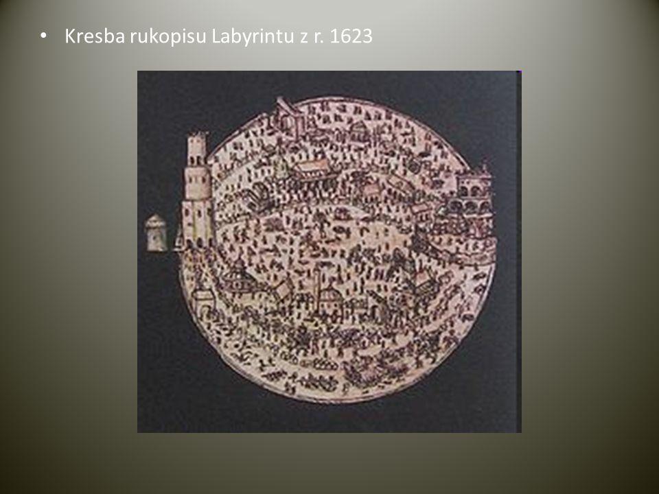 • Kresba rukopisu Labyrintu z r. 1623