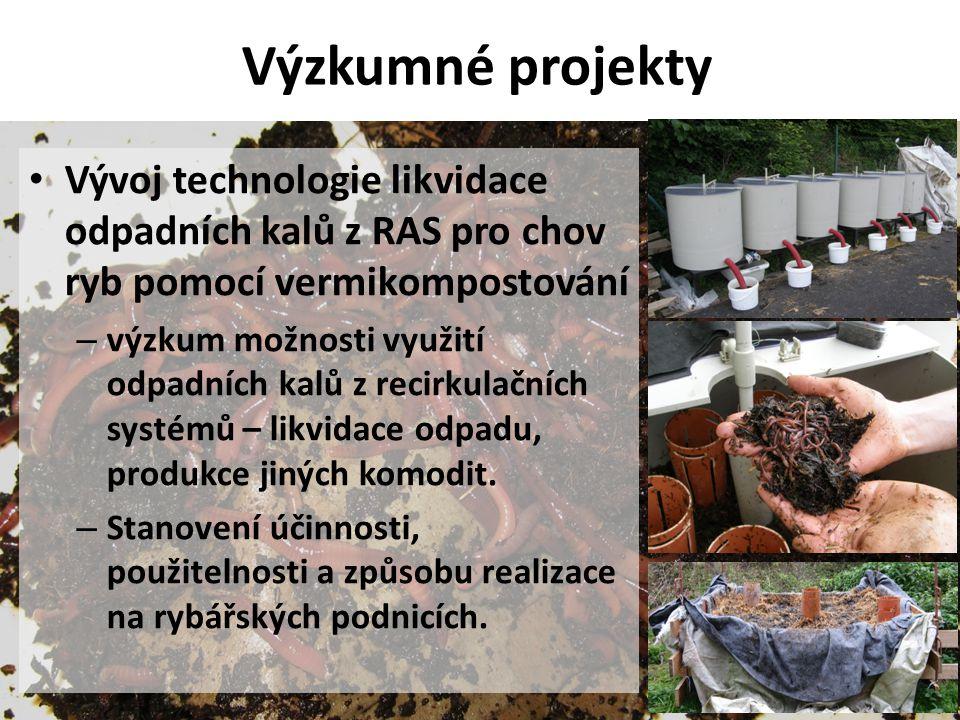 Výzkumné projekty • Vývoj technologie likvidace odpadních kalů z RAS pro chov ryb pomocí vermikompostování – výzkum možnosti využití odpadních kalů z