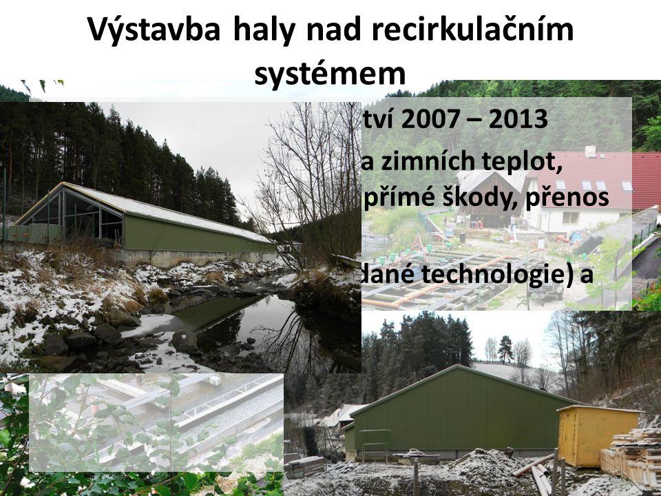 Výstavba haly nad recirkulačním systémem • Operační program rybářství 2007 – 2013 • Důvody - průběh letních a zimních teplot, invaze rybích predátorů