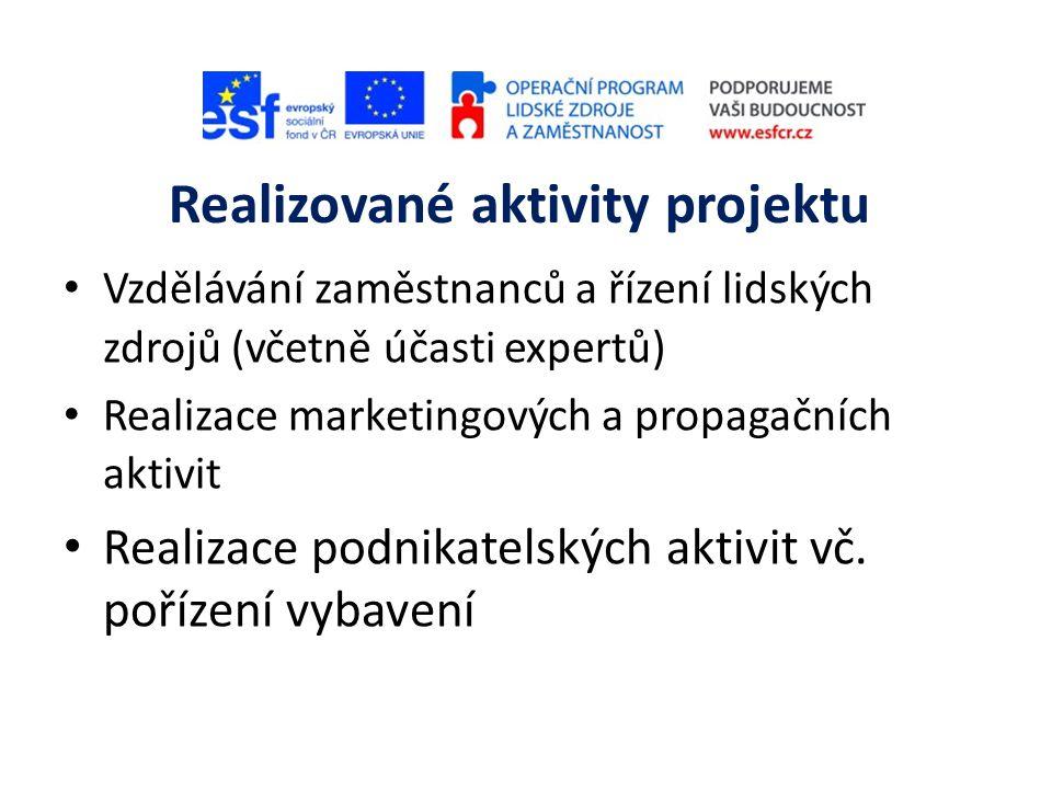 Realizované aktivity projektu • Vzdělávání zaměstnanců a řízení lidských zdrojů (včetně účasti expertů) • Realizace marketingových a propagačních aktivit • Realizace podnikatelských aktivit vč.