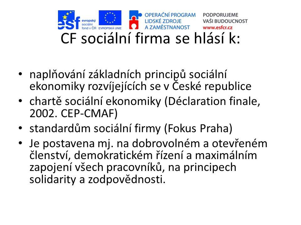 CF sociální firma se hlásí k: • naplňování základních principů sociální ekonomiky rozvíjejících se v České republice • chartě sociální ekonomiky (Déclaration finale, 2002.