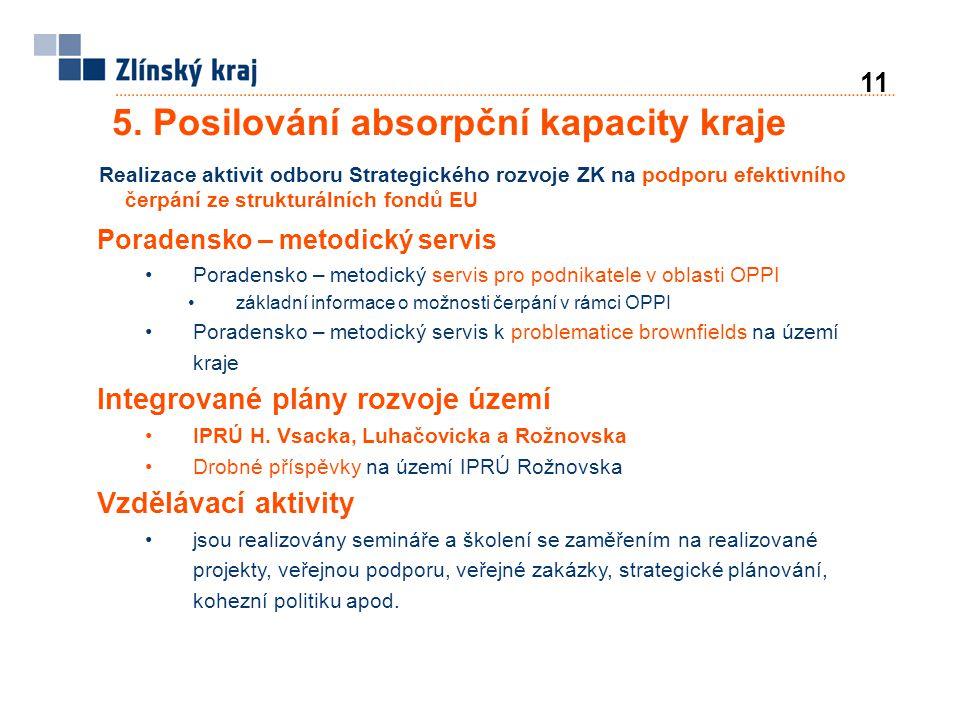 5. Posilování absorpční kapacity kraje Realizace aktivit odboru Strategického rozvoje ZK na podporu efektivního čerpání ze strukturálních fondů EU Por