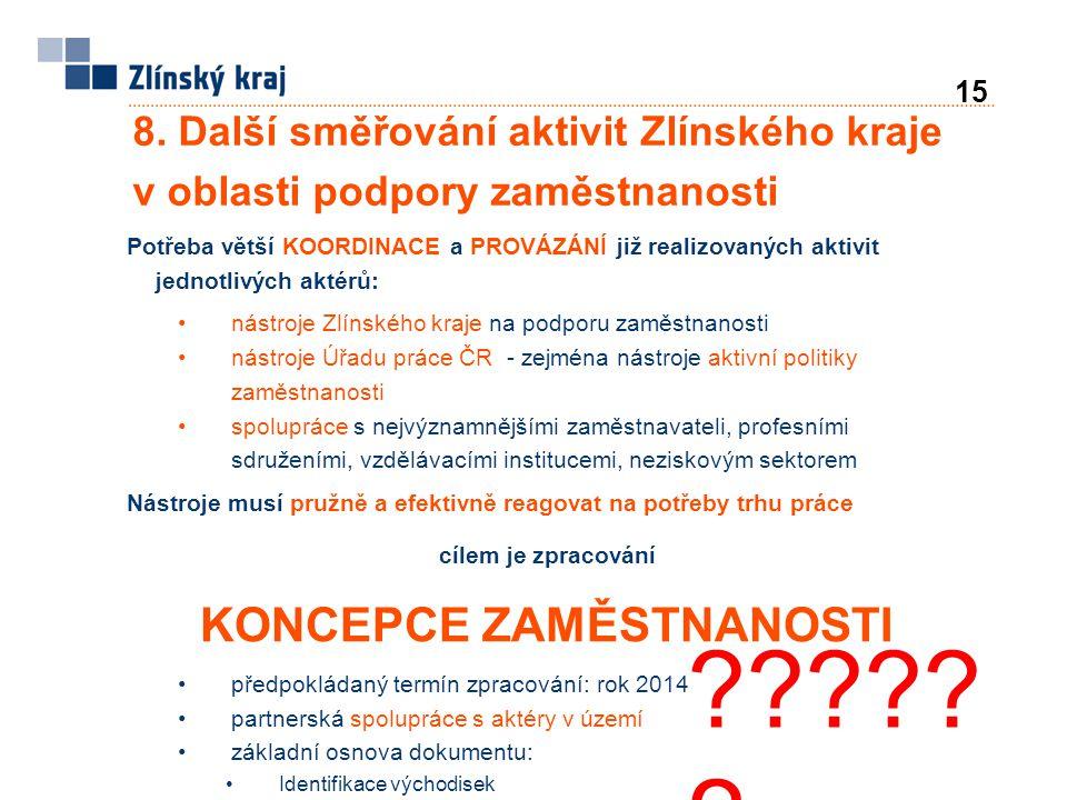 8. Další směřování aktivit Zlínského kraje v oblasti podpory zaměstnanosti Potřeba větší KOORDINACE a PROVÁZÁNÍ již realizovaných aktivit jednotlivých
