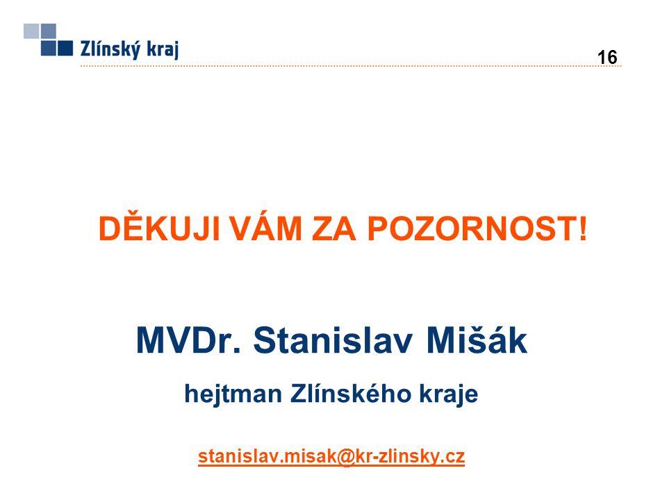 MVDr. Stanislav Mišák hejtman Zlínského kraje stanislav.misak@kr-zlinsky.cz DĚKUJI VÁM ZA POZORNOST! 16