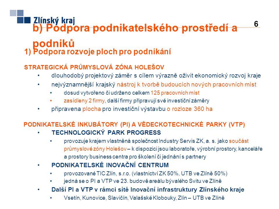 b) Podpora podnikatelského prostředí a podniků 1) Podpora rozvoje ploch pro podnikání STRATEGICKÁ PRŮMYSLOVÁ ZÓNA HOLEŠOV •dlouhodobý projektový záměr
