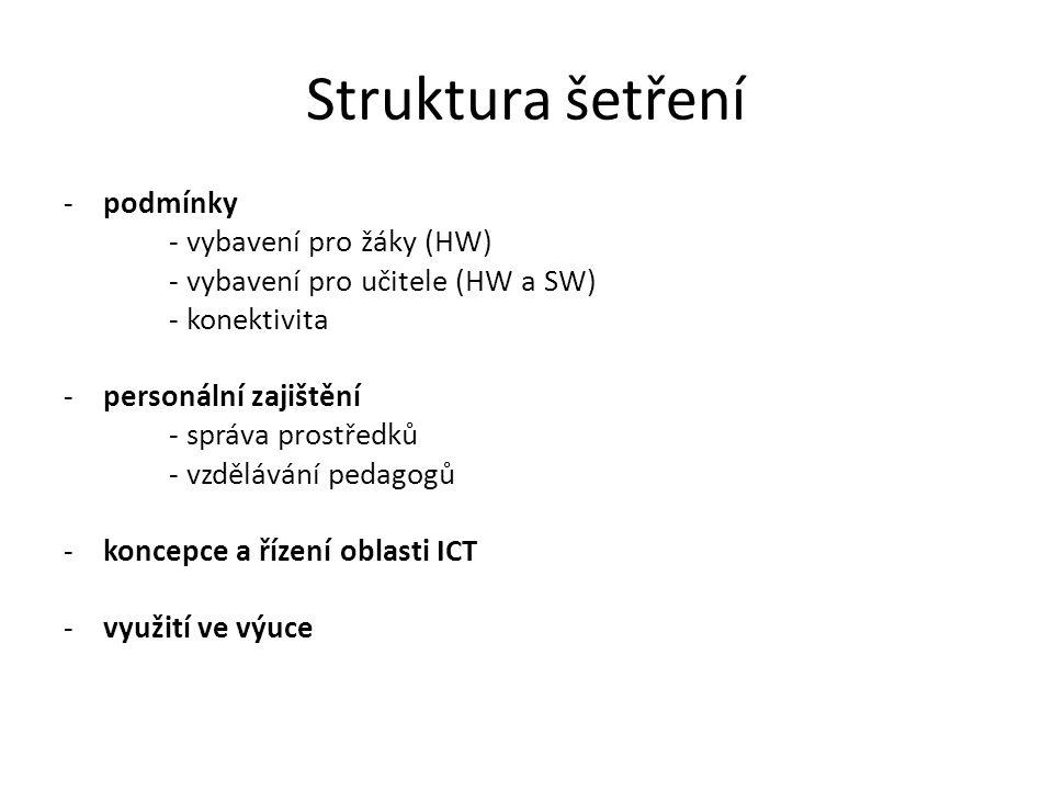 Struktura šetření -podmínky - vybavení pro žáky (HW) - vybavení pro učitele (HW a SW) - konektivita -personální zajištění - správa prostředků - vzdělá