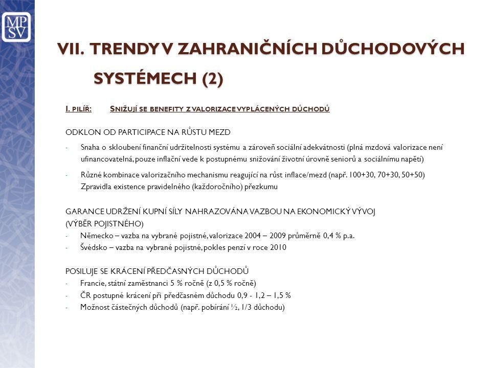 VII.TRENDY V ZAHRANIČNÍCH DŮCHODOVÝCH SYSTÉMECH (2) I.