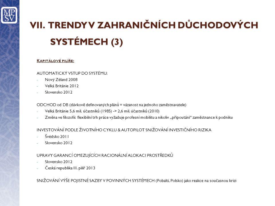 VII. TRENDY V ZAHRANIČNÍCH DŮCHODOVÝCH SYSTÉMECH (3) K APITÁLOVÉ PILÍŘE : AUTOMATICKÝ VSTUP DO SYSTÉMU: - Nový Zéland 2008 - Velká Británie 2012 - Slo