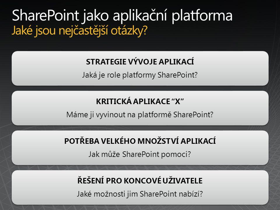 STRATEGIE VÝVOJE APLIKACÍ Jaká je role platformy SharePoint.