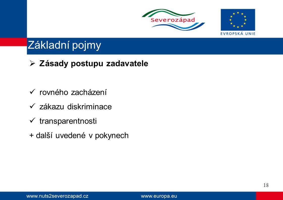  Zásady postupu zadavatele  rovného zacházení  zákazu diskriminace  transparentnosti + další uvedené v pokynech 18 Základní pojmy