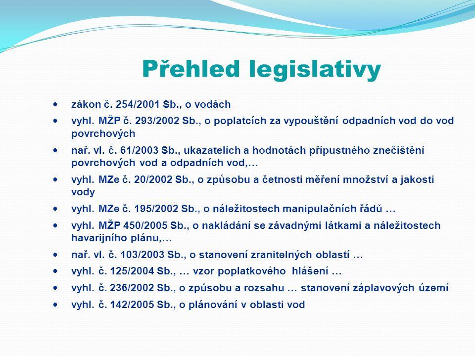 Přehled legislativy  zákon č. 254/2001 Sb., o vodách  vyhl. MŽP č. 293/2002 Sb., o poplatcích za vypouštění odpadních vod do vod povrchových  nař.