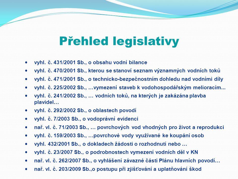 Přehled legislativy  vyhl. č. 431/2001 Sb., o obsahu vodní bilance  vyhl. č. 470/2001 Sb., kterou se stanoví seznam významných vodních toků  vyhl.
