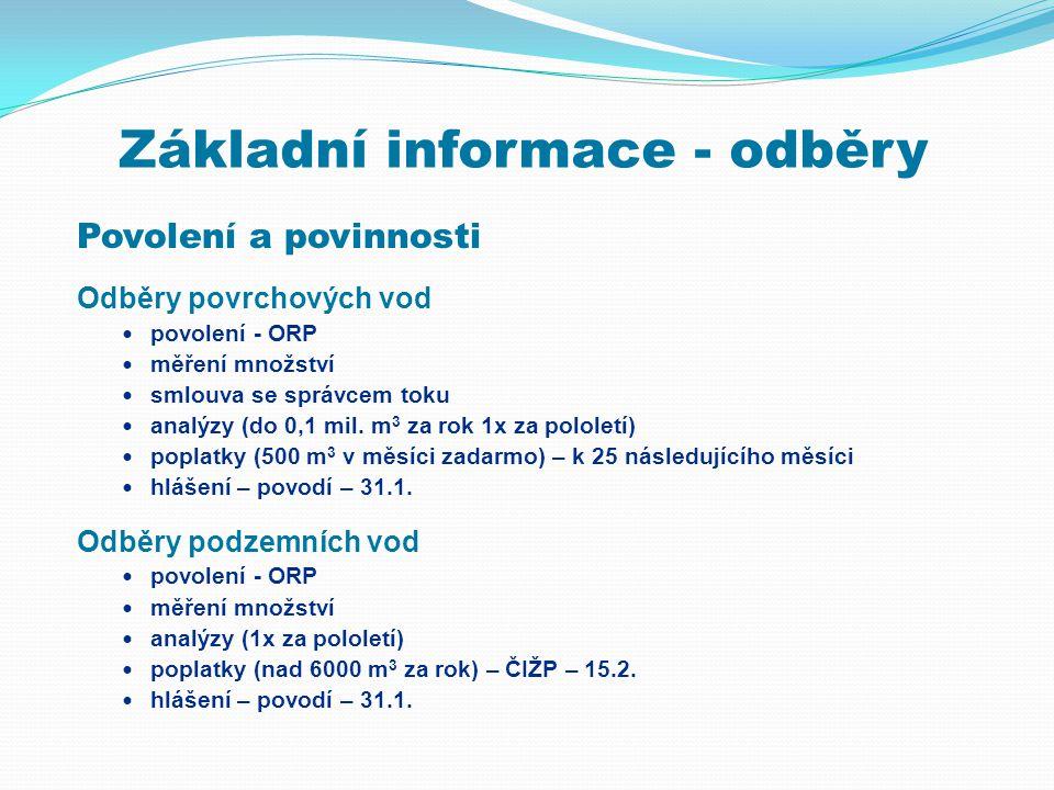 Základní informace - odběry Povolení a povinnosti Odběry povrchových vod  povolení - ORP  měření množství  smlouva se správcem toku  analýzy (do 0