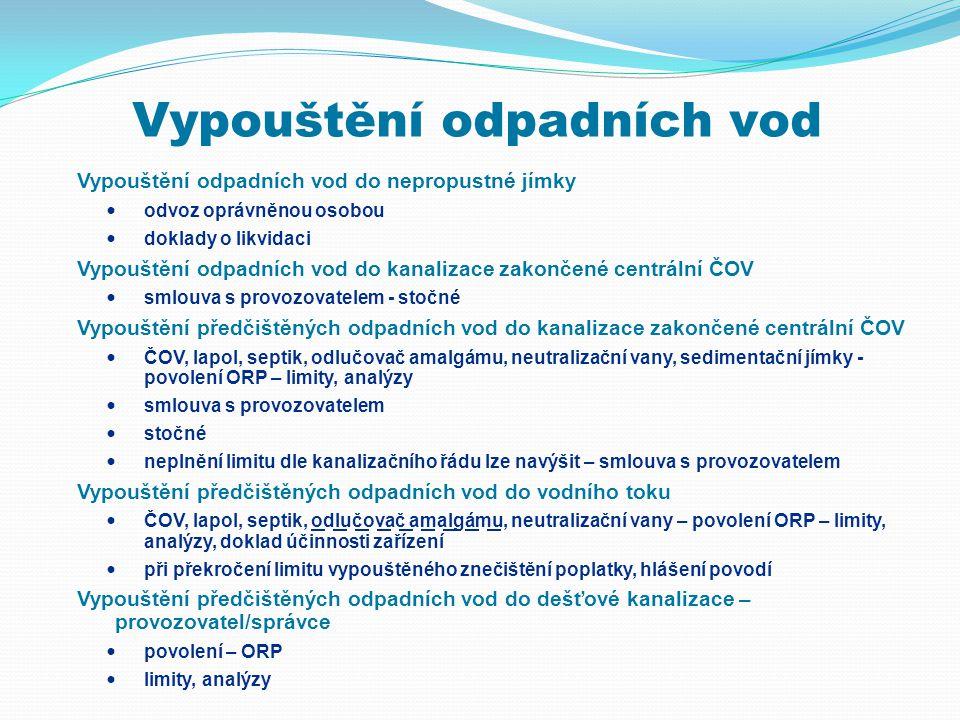 Vypouštění odpadních vod Vypouštění odpadních vod do nepropustné jímky  odvoz oprávněnou osobou  doklady o likvidaci Vypouštění odpadních vod do kan
