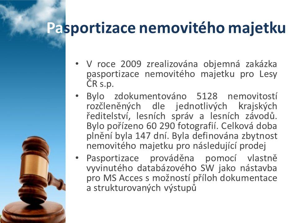 • V roce 2009 zrealizována objemná zakázka pasportizace nemovitého majetku pro Lesy ČR s.p. • Bylo zdokumentováno 5128 nemovitostí rozčleněných dle je