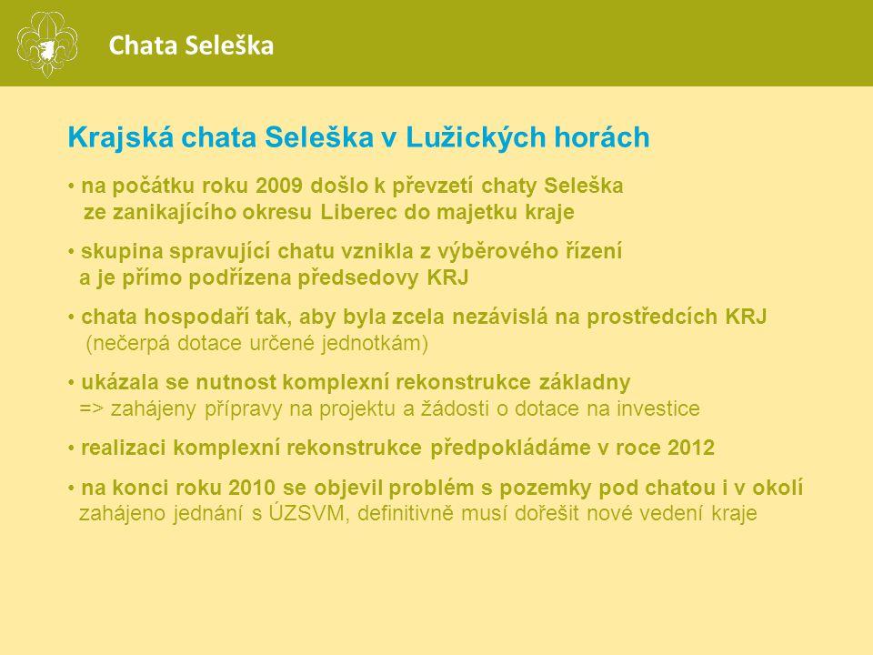 Krajská chata Seleška v Lužických horách • na počátku roku 2009 došlo k převzetí chaty Seleška ze zanikajícího okresu Liberec do majetku kraje • skupi
