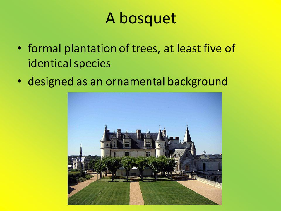 A bosquet • formal plantation of trees, at least five of identical species • designed as an ornamental background