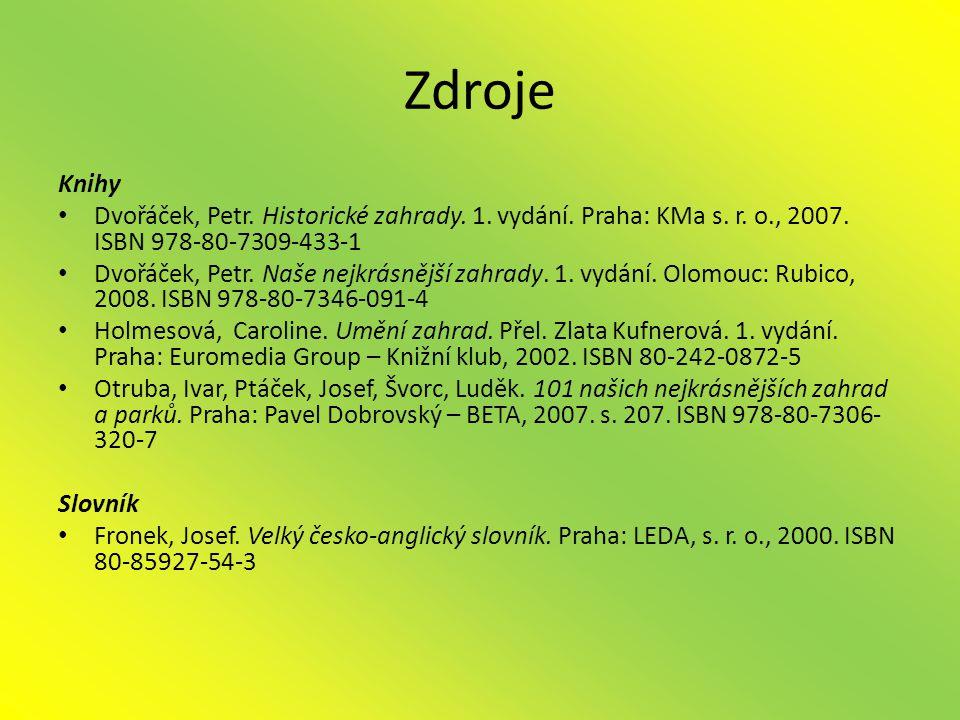 Zdroje Knihy • Dvořáček, Petr.Historické zahrady.