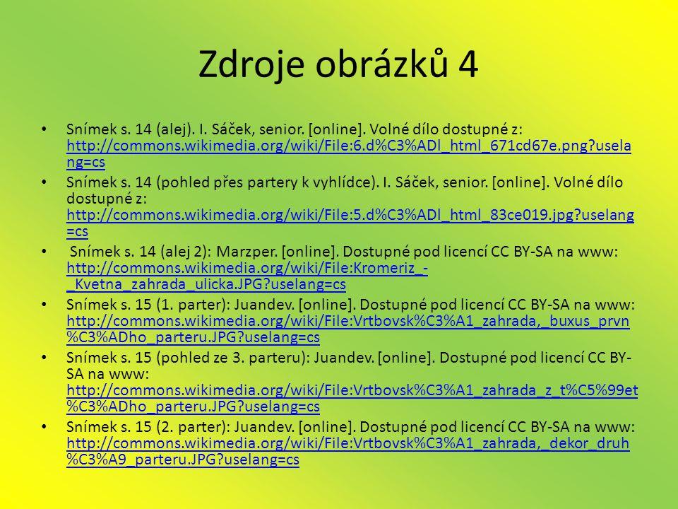 Zdroje obrázků 4 • Snímek s.14 (alej). I. Sáček, senior.