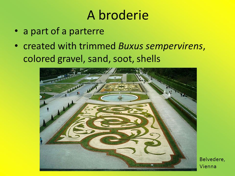 A broderie • a part of a parterre • created with trimmed Buxus sempervirens, colored gravel, sand, soot, shells Belvedere, Vienna