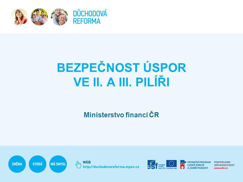 BEZPEČNOST ÚSPOR VE II. A III. PILÍŘI Ministerstvo financí ČR