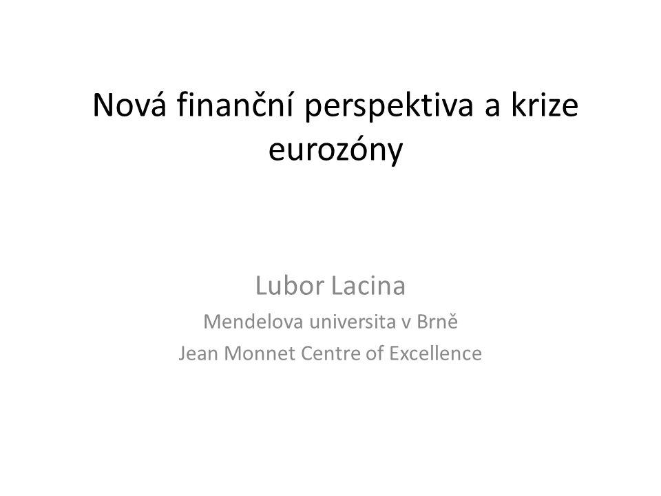 Krize eurozóny a rozpočet EU • Evropský integrační projekt se dostal na křižovatku • Tři možné cesty řešení: – Prohloubení integrace – vytvoření politické unie s federálním rozpočtem – Zachování současného stavu – Disintegrace – návrat ke společnému trhu a národním měnám • Krize eurozóny potvrdila omezenou stabilizační kapacitu rozpočtu EU