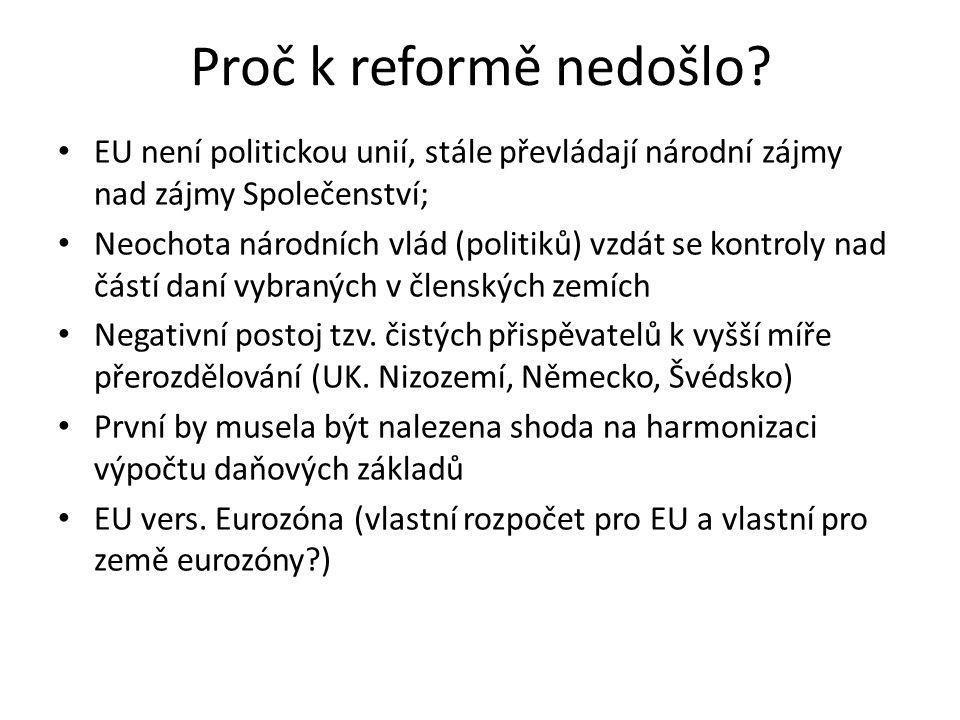 Proč k reformě nedošlo? • EU není politickou unií, stále převládají národní zájmy nad zájmy Společenství; • Neochota národních vlád (politiků) vzdát s