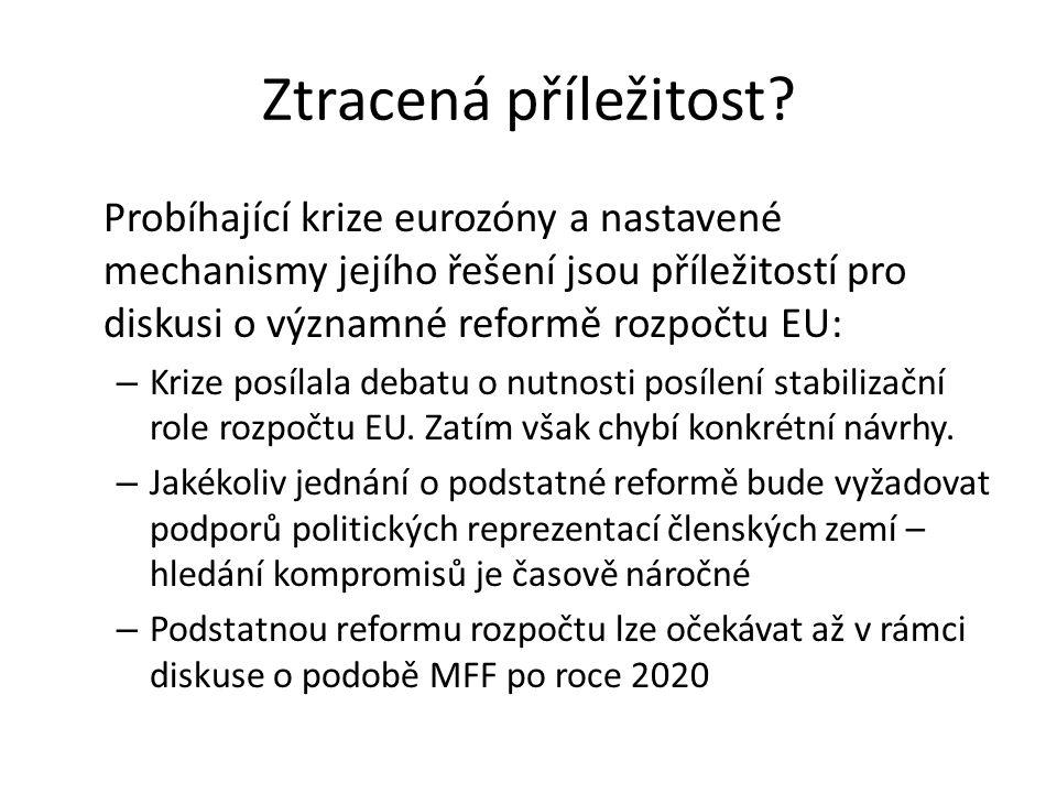Ztracená příležitost? Probíhající krize eurozóny a nastavené mechanismy jejího řešení jsou příležitostí pro diskusi o významné reformě rozpočtu EU: –
