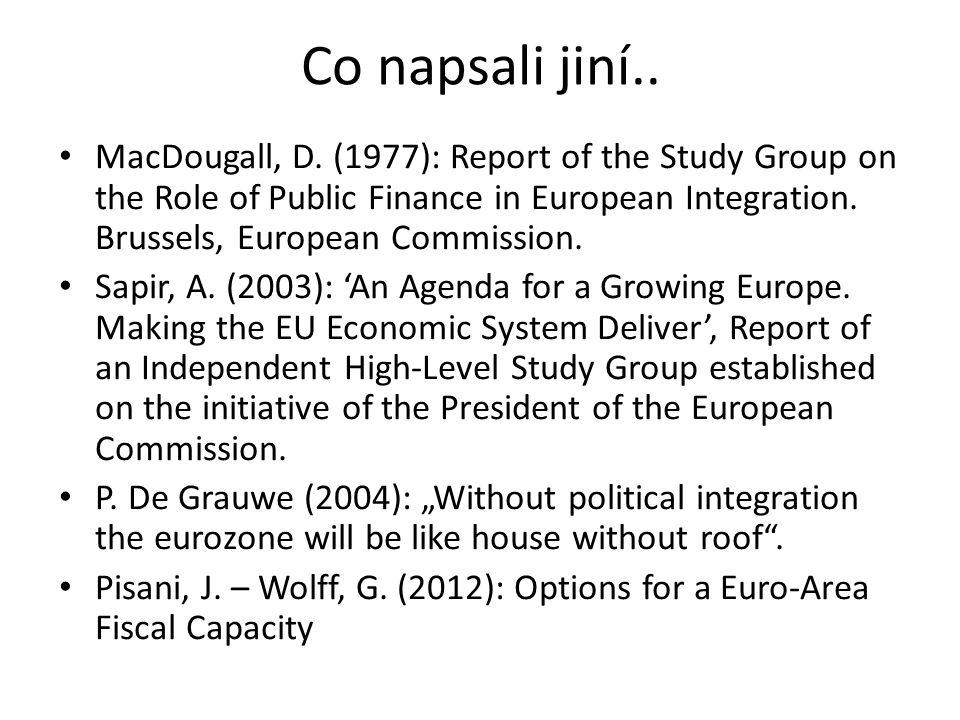 """Status Quo • Omezená velikost rozpočtu EU ve srovnání s federálními i národními rozpočty – omezená redistribuční funkce a zcela chybějící stabilzační funkce • Víceletá perspektiva – omezená flexibilita • Z historických důvodů většina výdajů na zemědělskou a regionální politiku • Omezené vlastní zdroje – žádná daň EU – závislost na příspěvcích členských států • """"Juste retour problém – rozdělení na čisté přispěvatele a příjemce"""