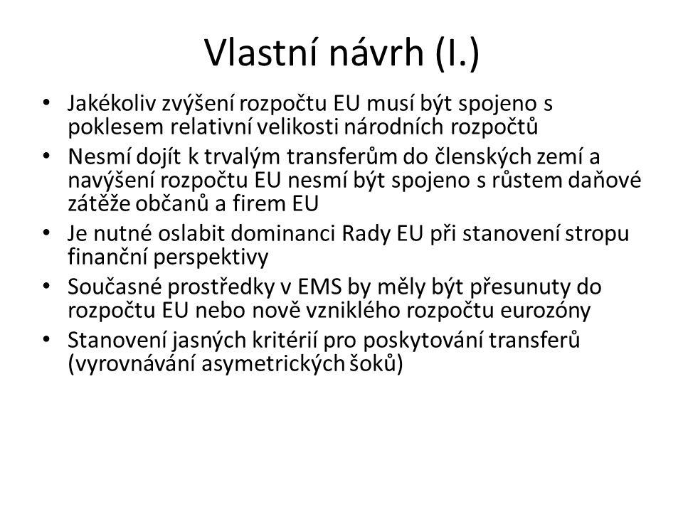 Vlastní návrh (I.) • Jakékoliv zvýšení rozpočtu EU musí být spojeno s poklesem relativní velikosti národních rozpočtů • Nesmí dojít k trvalým transfer