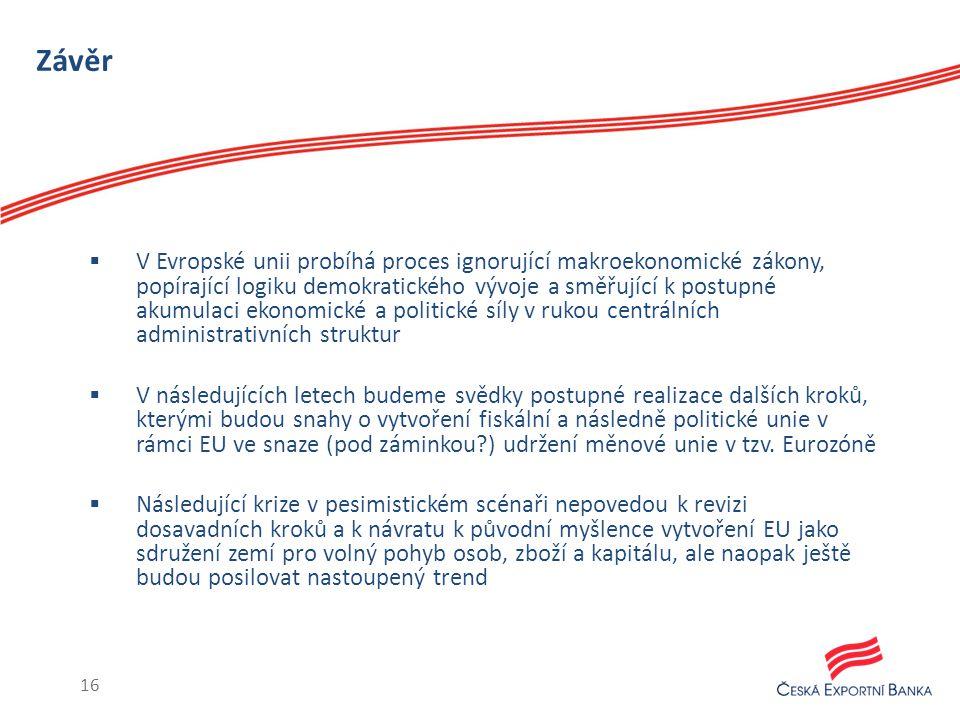 Závěr  V Evropské unii probíhá proces ignorující makroekonomické zákony, popírající logiku demokratického vývoje a směřující k postupné akumulaci ekonomické a politické síly v rukou centrálních administrativních struktur  V následujících letech budeme svědky postupné realizace dalších kroků, kterými budou snahy o vytvoření fiskální a následně politické unie v rámci EU ve snaze (pod záminkou ) udržení měnové unie v tzv.