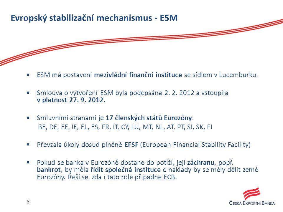 Evropský stabilizační mechanismus - ESM  ESM má postavení mezivládní finanční instituce se sídlem v Lucemburku.