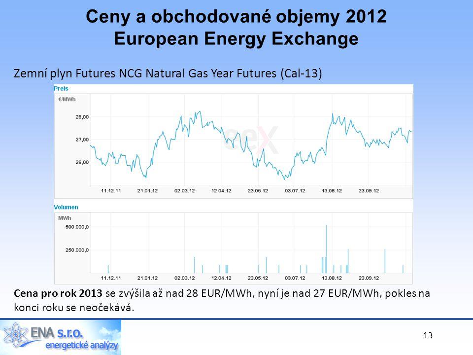 13 Zemní plyn Futures NCG Natural Gas Year Futures (Cal-13) Cena pro rok 2013 se zvýšila až nad 28 EUR/MWh, nyní je nad 27 EUR/MWh, pokles na konci roku se neočekává.