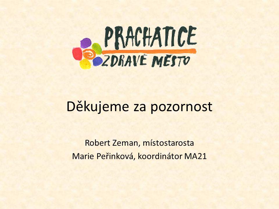 Děkujeme za pozornost Robert Zeman, místostarosta Marie Peřinková, koordinátor MA21