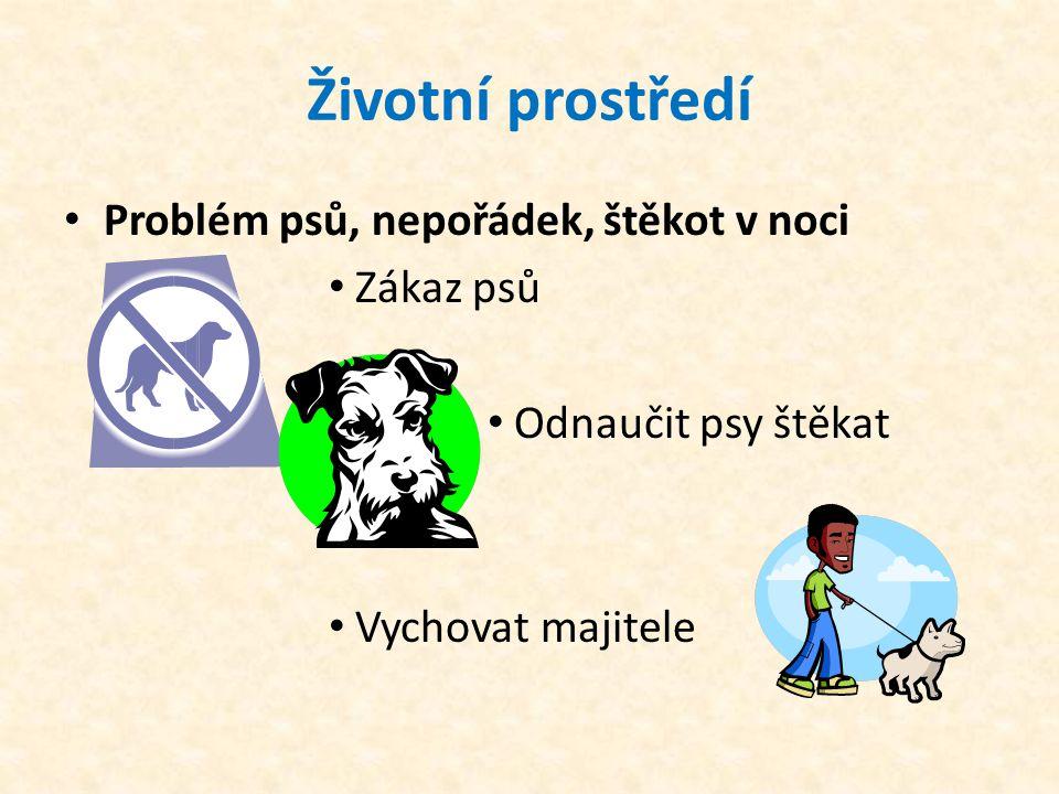 Životní prostředí • Problém psů, nepořádek, štěkot v noci • Zákaz psů • Odnaučit psy štěkat • Vychovat majitele