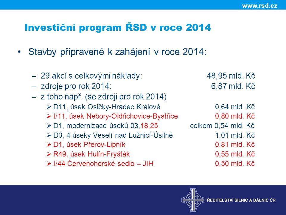 www.rsd.cz Investiční program ŘSD v roce 2014 •Stavby připravené k zahájení v roce 2014: –29 akcí s celkovými náklady: 48,95 mld. Kč –zdroje pro rok 2