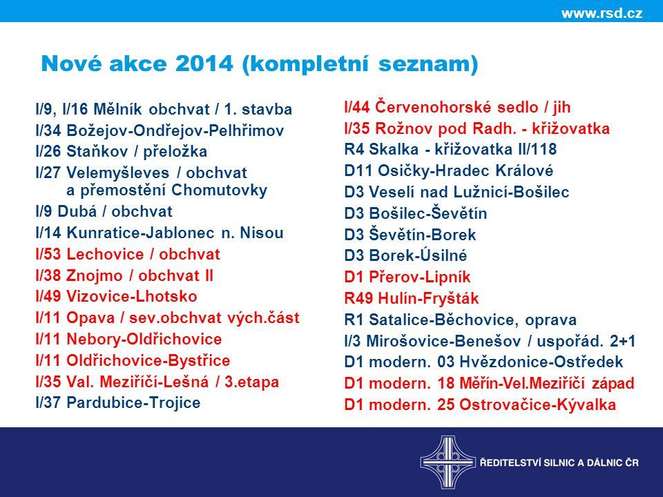 www.rsd.cz Nové akce 2014 (kompletní seznam) I/9, I/16 Mělník obchvat / 1. stavba I/34 Božejov-Ondřejov-Pelhřimov I/26 Staňkov / přeložka I/27 Velemyš