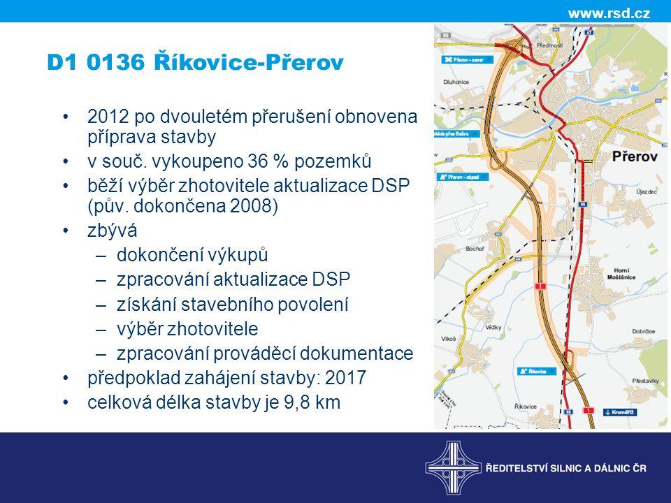 www.rsd.cz D1 0136 Říkovice-Přerov •2012 po dvouletém přerušení obnovena příprava stavby •v souč. vykoupeno 36 % pozemků •běží výběr zhotovitele aktua
