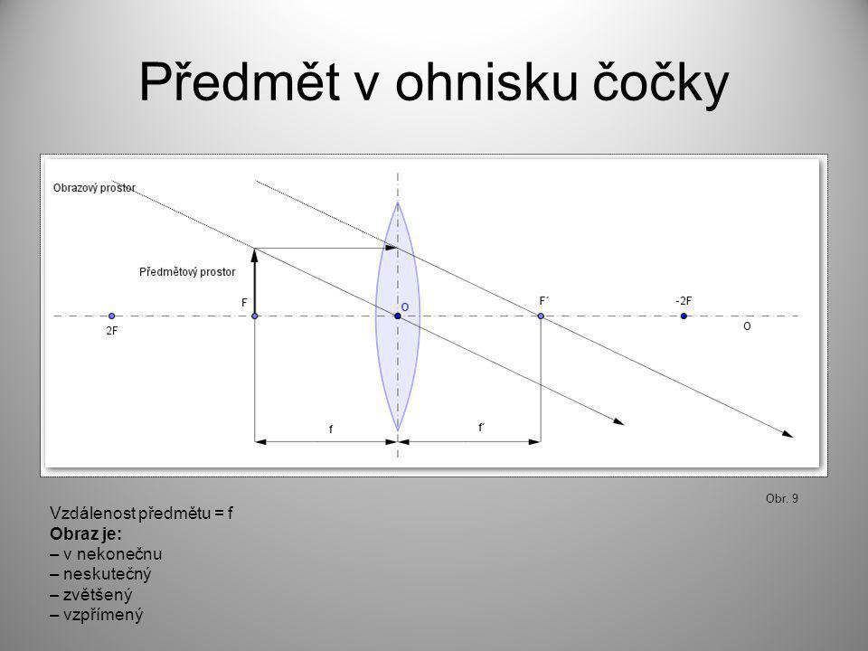 Předmět v ohnisku čočky Obr. 9 Vzdálenost předmětu = f Obraz je: – v nekonečnu – neskutečný – zvětšený – vzpřímený