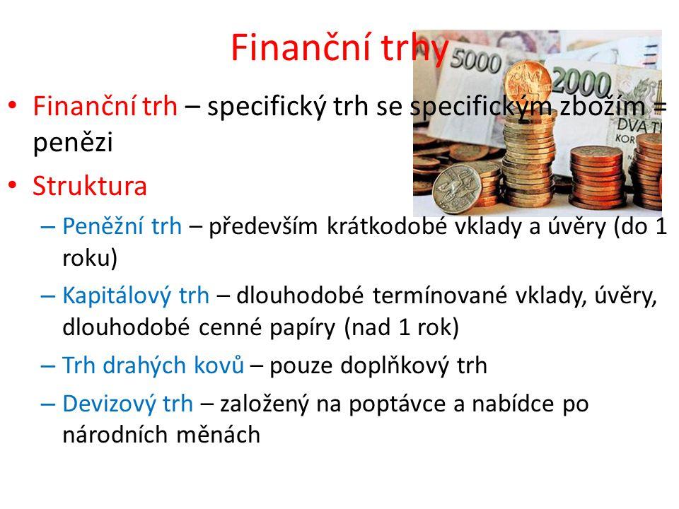 Finanční trhy • Finanční trh – specifický trh se specifickým zbožím = penězi • Struktura – Peněžní trh – především krátkodobé vklady a úvěry (do 1 rok