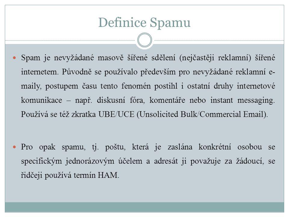 Definice Spamu  Spam je nevyžádané masově šířené sdělení (nejčastěji reklamní) šířené internetem. Původně se používalo především pro nevyžádané rekla