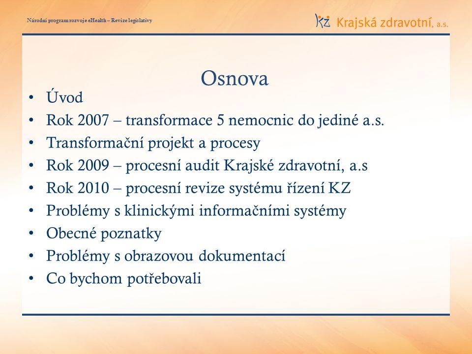 Národní program rozvoje eHealth – Revize legislativy Osnova • Úvod • Rok 2007 – transformace 5 nemocnic do jediné a.s.