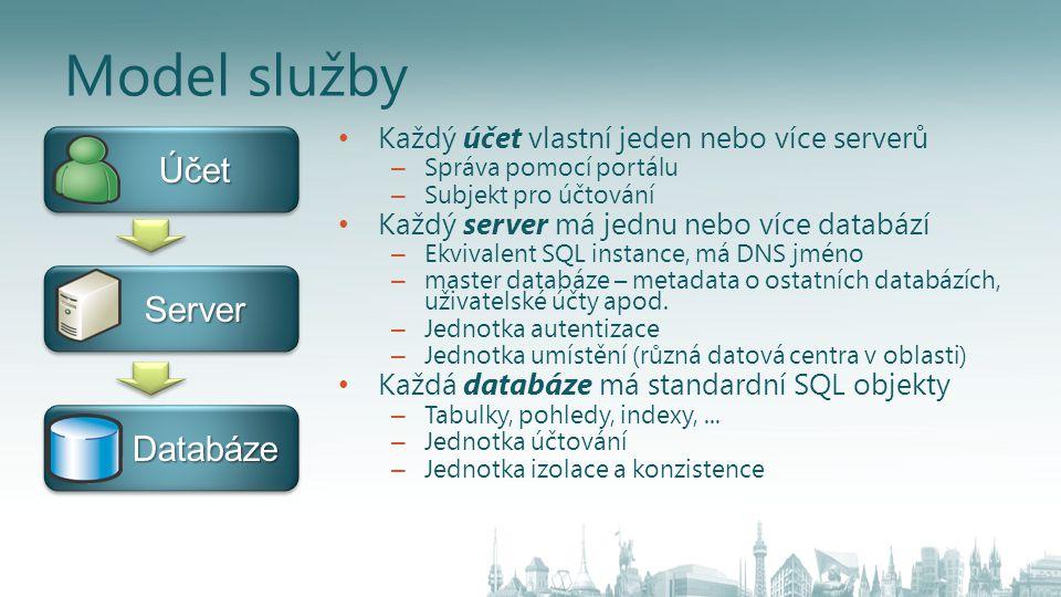 Model služby • Každý účet vlastní jeden nebo více serverů – Správa pomocí portálu – Subjekt pro účtování • Každý server má jednu nebo více databází – Ekvivalent SQL instance, má DNS jméno – master databáze – metadata o ostatních databázích, uživatelské účty apod.