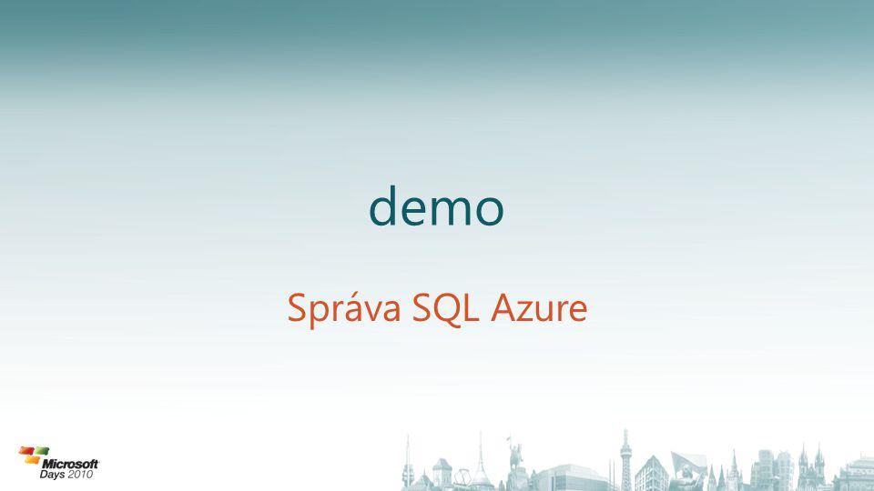 demo Správa SQL Azure