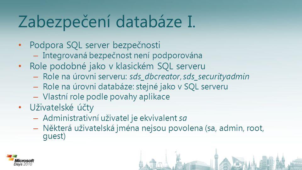 Zabezpečení databáze I.