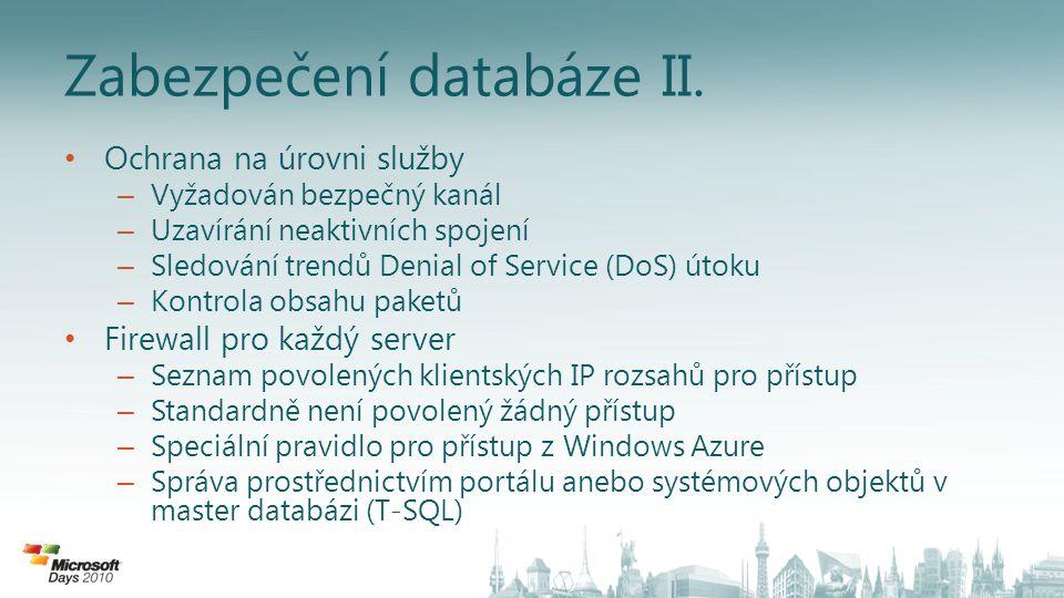 Zabezpečení databáze II.