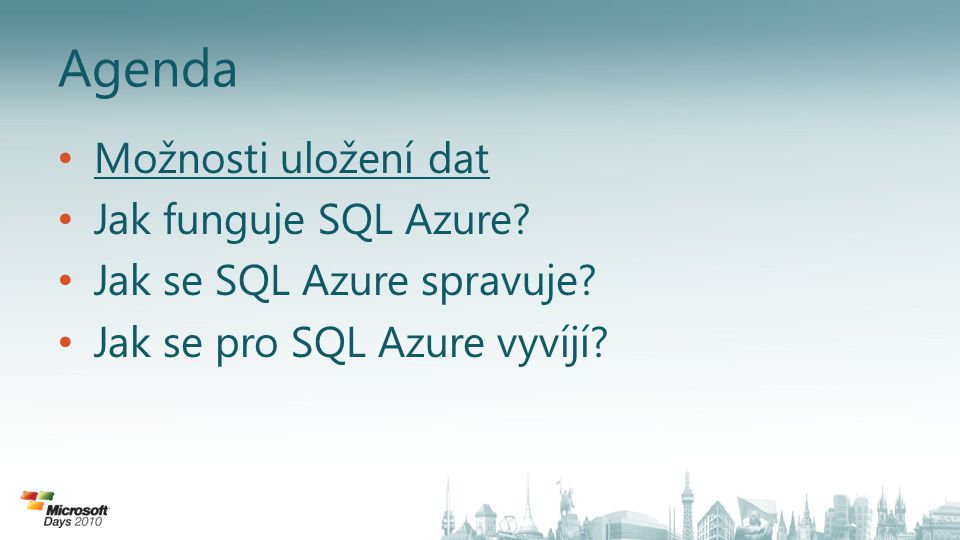 Správa serveru • Prostřednictvím portálu – Vytvoření/zrušení serveru – Vytvoření/zrušení databáze – Administrátorský účet – Konfigurace síťových pravidel – Reportování o provozu a nákladech • Prostřednictvím T-SQL do master databáze – Např.