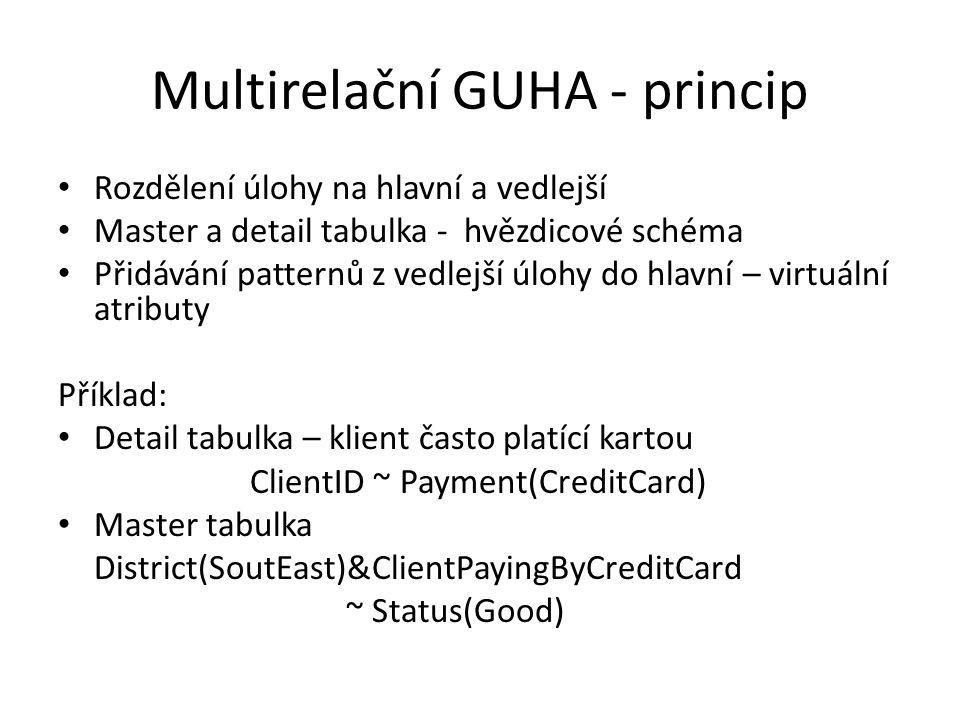 Multirelační GUHA - princip • Rozdělení úlohy na hlavní a vedlejší • Master a detail tabulka - hvězdicové schéma • Přidávání patternů z vedlejší úlohy